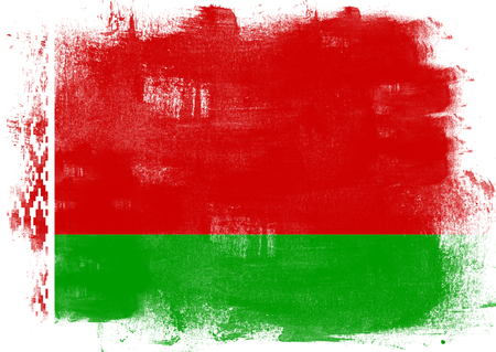 solid background: Flag of Belarus painted with brush on solid background, Stock Photo