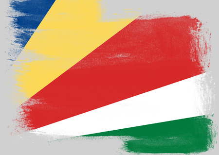 seychelles: Flag of Seychelles painted with brush on solid background,