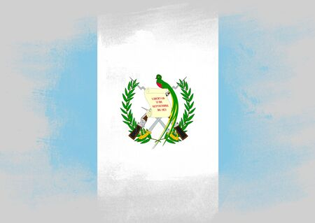 solid background: Flag of Guatemala painted with brush on solid background,