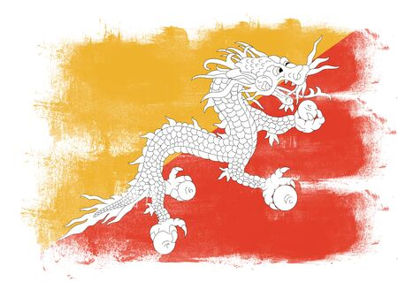 solid background: Flag of Bhutan painted with brush on solid background,