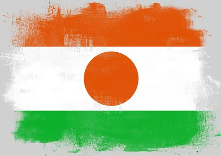 solid background: Flag of Niger painted with brush on solid background,