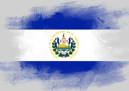 solid background: Flag of El Salvador painted with brush on solid background,