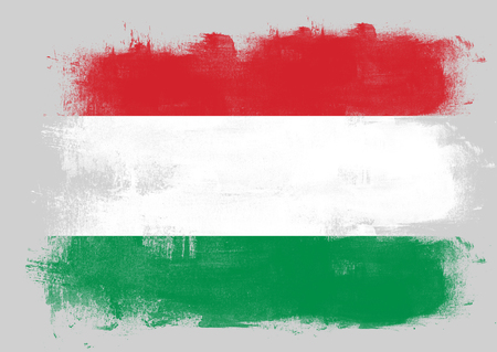 solid background: Flag of Hungary painted with brush on solid background,