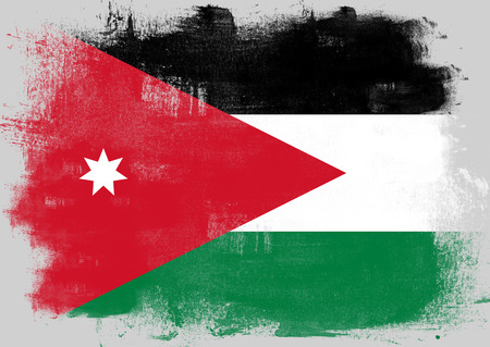 solid background: Flag of Jordan painted with brush on solid background,