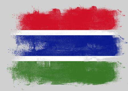 solid background: Flag of Gambia painted with brush on solid background,