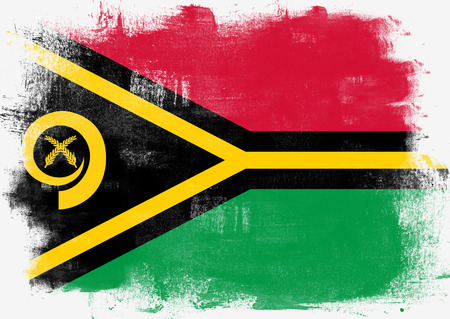 vanuatu: Flag of Vanuatu painted with brush on solid background,