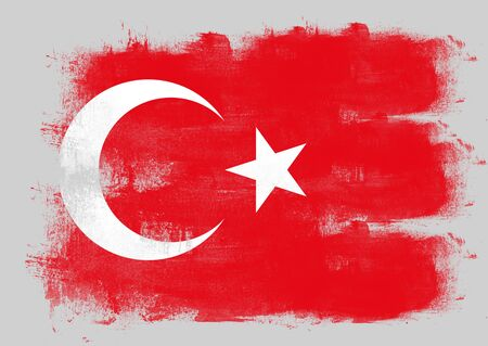 solid background: Flag of Turkey painted with brush on solid background,