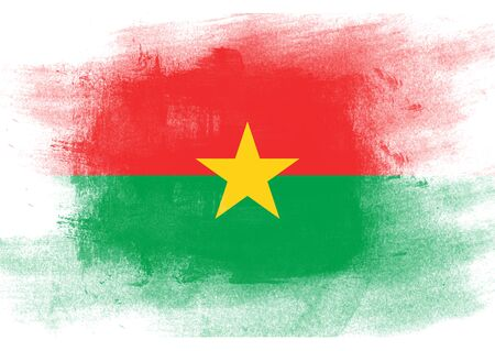 solid background: Flag of Burkina Faso painted with brush on solid background,