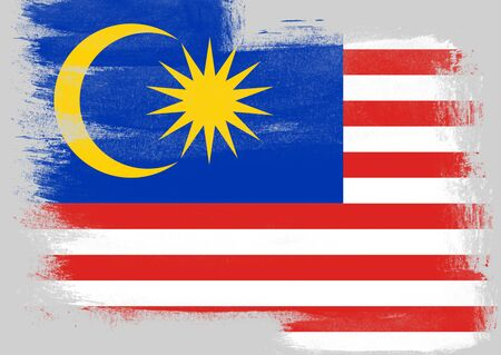 solid background: Flag of Malaysia painted with brush on solid background,