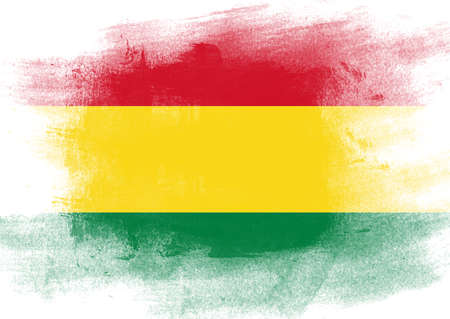 solid background: Flag of Bolivia painted with brush on solid background,