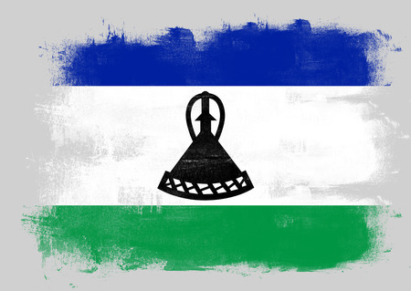 solid background: Flag of Lesotho painted with brush on solid background,