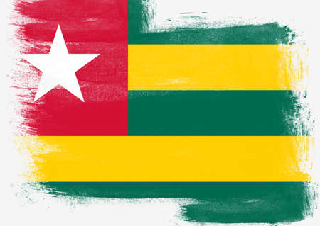 solid background: Flag of Togo painted with brush on solid background, Stock Photo