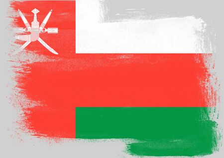 oman background: Flag of Oman painted with brush on solid background, Stock Photo