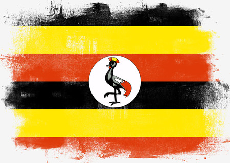 solid background: Flag of Uganda painted with brush on solid background,