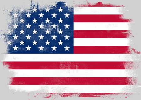 solid background: Flag of United States painted with brush on solid background, Stock Photo