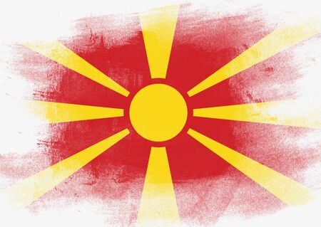 solid background: Flag of Macedonia painted with brush on solid background, Stock Photo