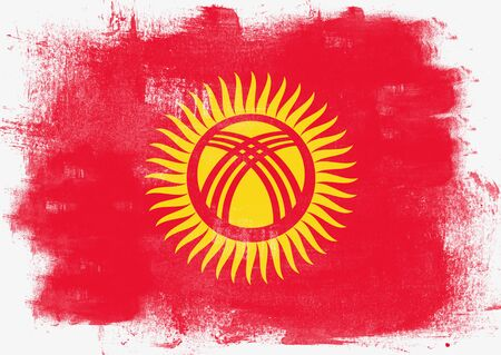 solid background: Flag of Kyrgyzstan painted with brush on solid background, Stock Photo
