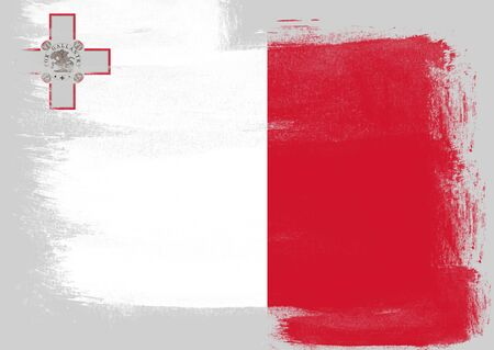malta flag: Flag of Malta painted with brush on solid background,