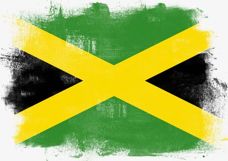 solid background: Flag of Jamaica painted with brush on solid background,