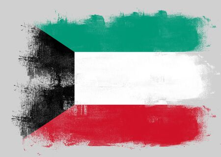 solid background: Flag of Kuwait painted with brush on solid background, Stock Photo