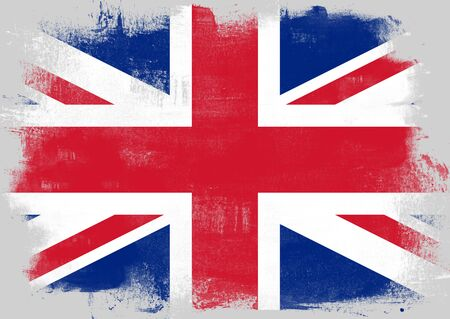solid background: Flag of United Kingdom painted with brush on solid background,