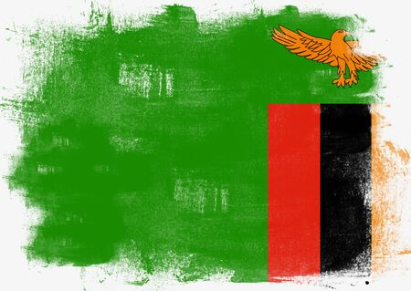solid background: Flag of Zambia painted with brush on solid background,