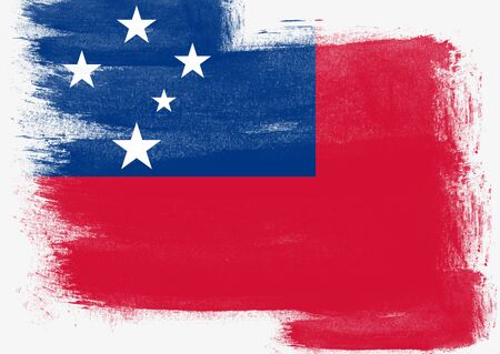 solid background: Flag of Samoa painted with brush on solid background, Stock Photo