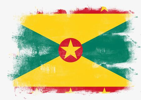 solid background: Flag of Grenada painted with brush on solid background,