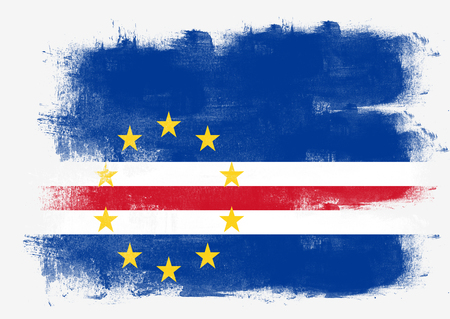 solid background: Flag of Cape Verde painted with brush on solid background,