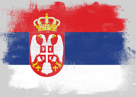 solid background: Flag of Serbia painted with brush on solid background, Stock Photo