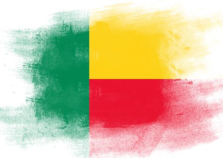 solid background: Flag of Benin painted with brush on solid background,