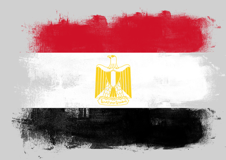 solid background: Flag of Egypt painted with brush on solid background,
