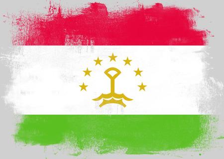 tajikistan: Flag of Tajikistan painted with brush on solid background,