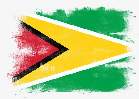 solid background: Flag of Guyana painted with brush on solid background, Stock Photo