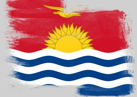 solid background: Flag of Kiribati painted with brush on solid background,