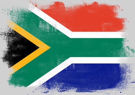 solid background: Flag of South Africa painted with brush on solid background,