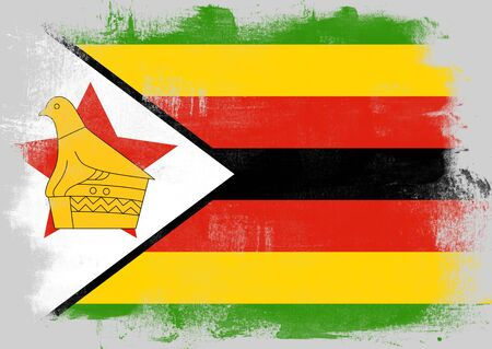 solid background: Flag of Zimbabwe painted with brush on solid background, Stock Photo