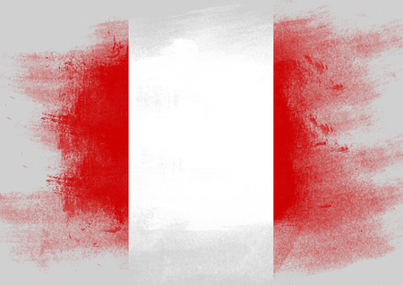 solid background: Flag of Peru painted with brush on solid background,