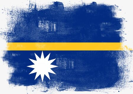 nauru: Flag of Nauru painted with brush on solid background,