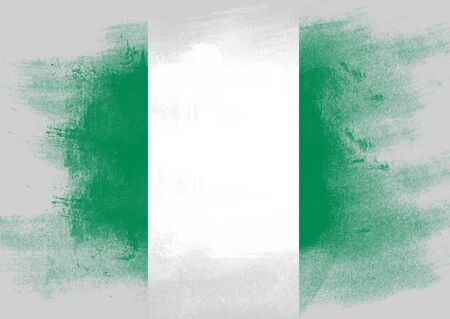 solid background: Flag of Nigeria painted with brush on solid background, Stock Photo