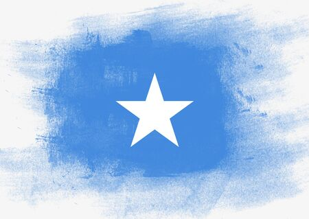 solid background: Flag of Somalia painted with brush on solid background,