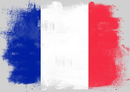 france painted: Flag of France painted with brush on solid background,