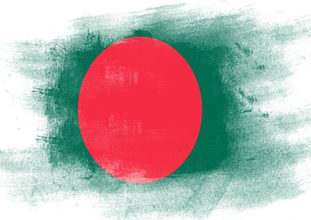 solid background: Flag of Bangladesh painted with brush on solid background, Stock Photo