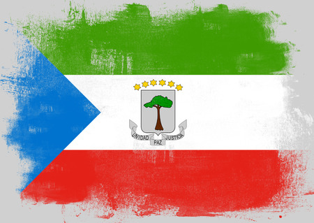solid background: Flag of Equatorial Guinea painted with brush on solid background,