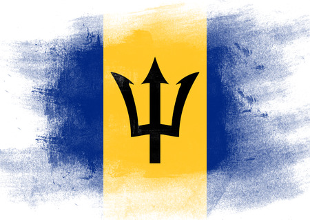 solid background: Flag of Barbados painted with brush on solid background,