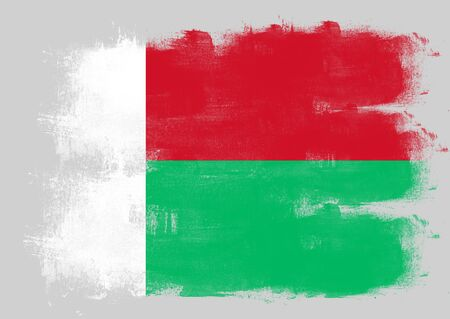 solid background: Flag of Madagascar painted with brush on solid background,