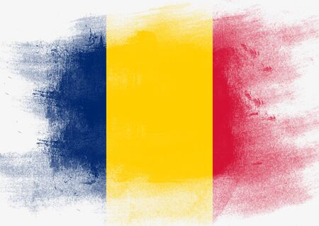 solid background: Flag of Chad painted with brush on solid background,