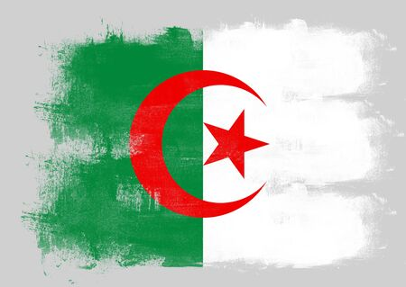 solid background: Flag of Algeria painted with brush on solid background,