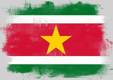 solid background: Flag of Suriname painted with brush on solid background,