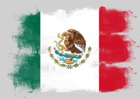 solid background: Flag of Mexico painted with brush on solid background,